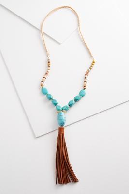 turquoise bead tassel necklace
