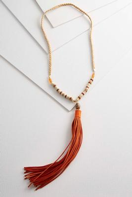 braided faux suede tassel necklace