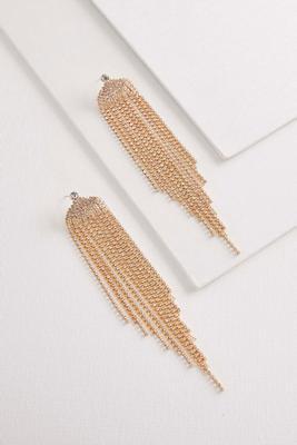 rhinestone fringe statement earrings