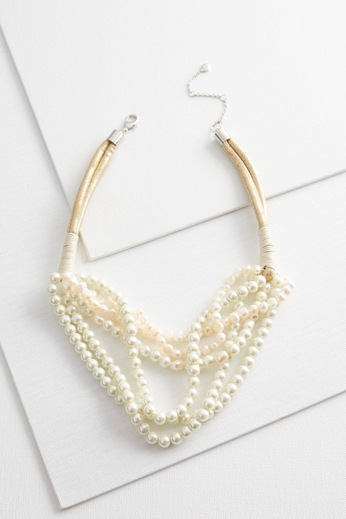 Layered Pearl Cord Necklace