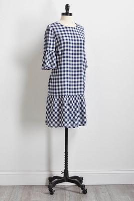 gingham drop waist dress
