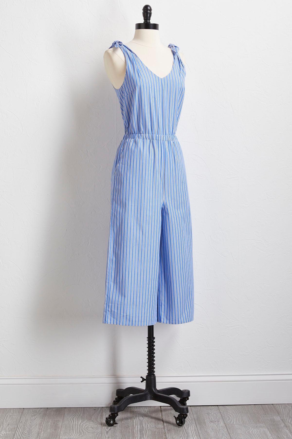 Stripe Bow Sleeve Jumpsuit