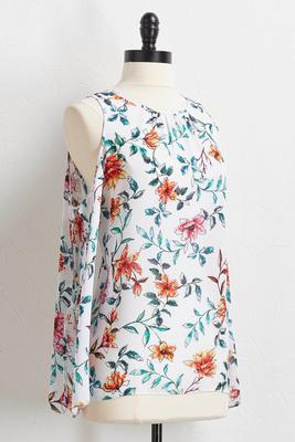 floral slit tie sleeve top