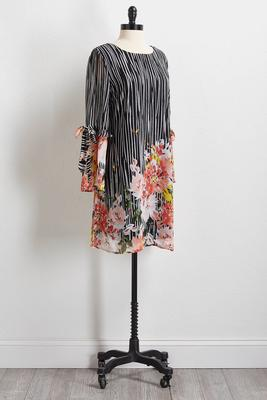 stripe floral shift dress