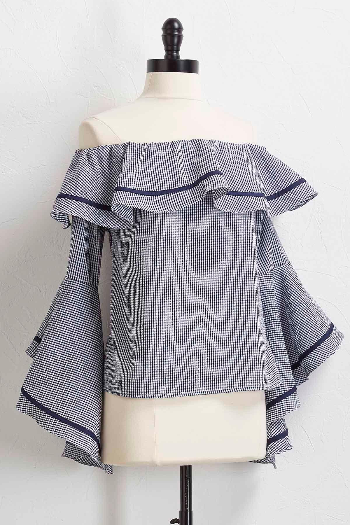 Ruffled Off The Shoulder Gingham Top