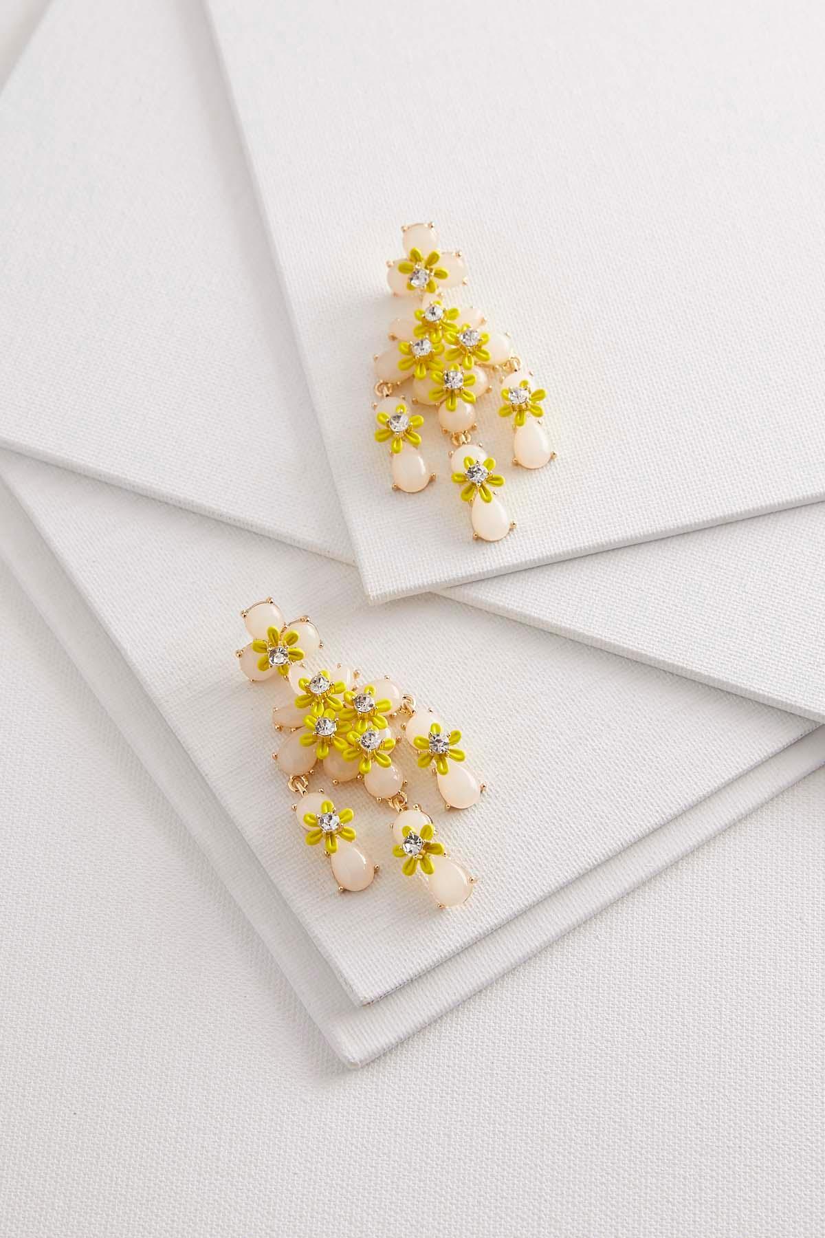 Stone Flower Statement Earrings