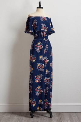 navy floral off the shoulder jumpsuit