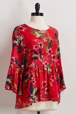 island floral ruffle sleeve top