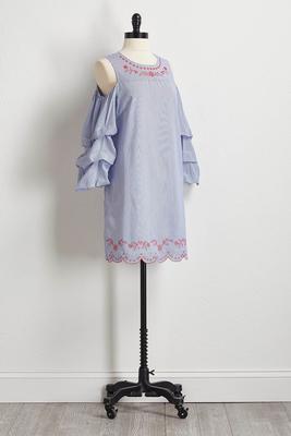 striped balloon sleeve shift dress