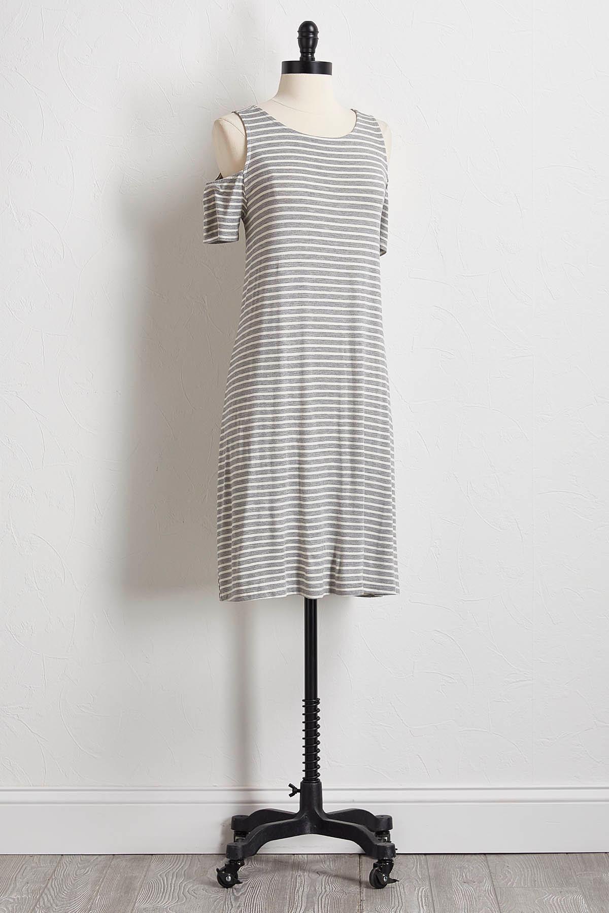 Striped Bare Shoulder T- Shirt Dress