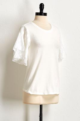 organza burnout sleeve top