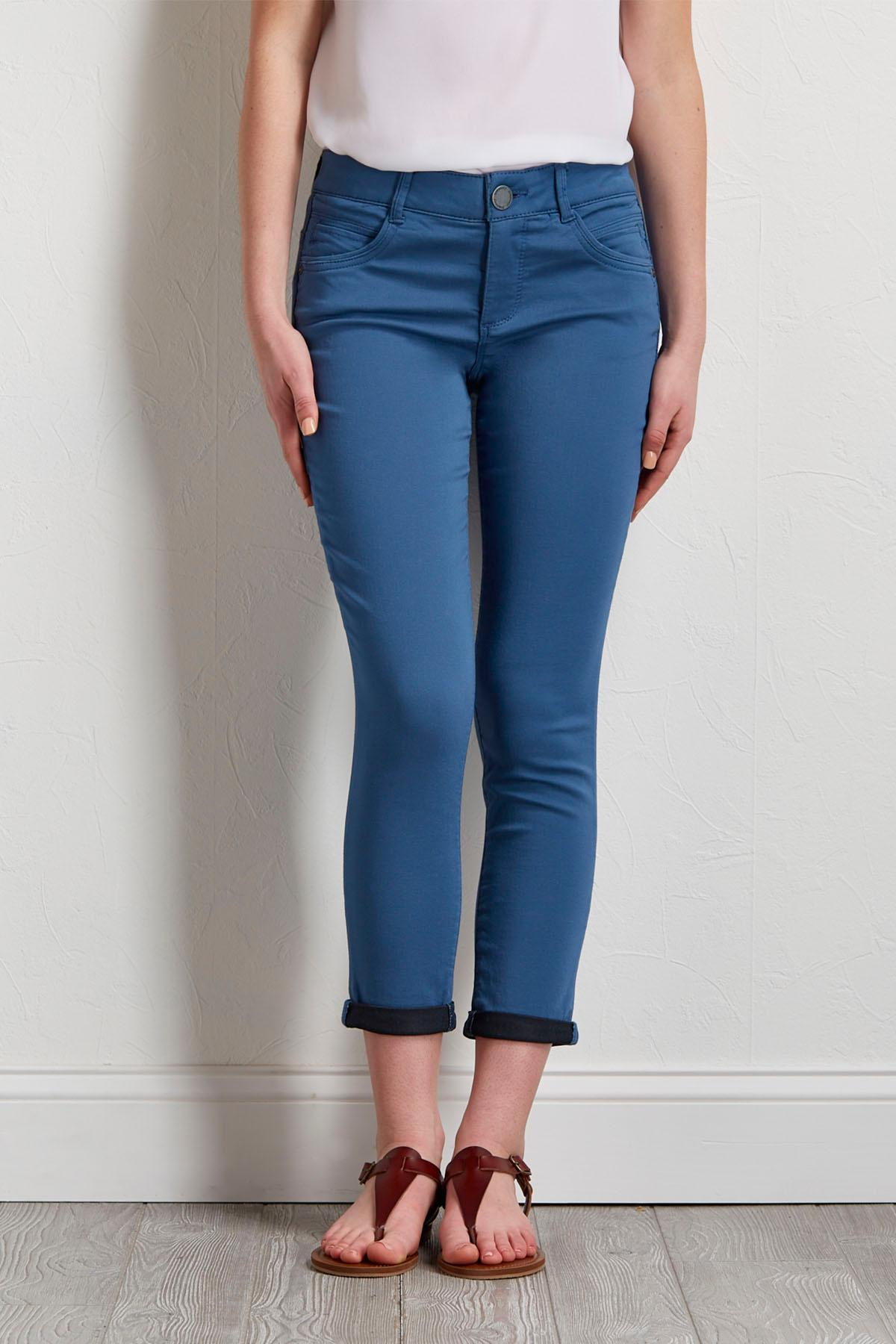 Cropped Rolled Skimmer Pants
