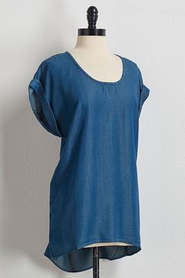 chambray cuffed sleeve top