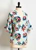 Tropical Floral Bell Sleeve Top