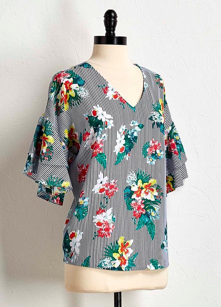 Stripe Floral Bell Sleeve Top