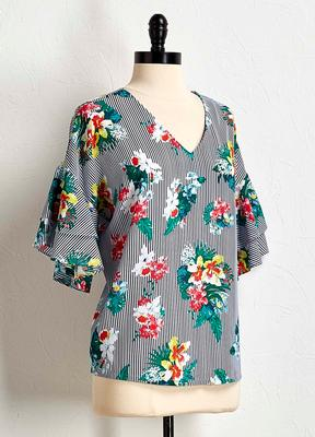 stripe floral bell sleeve top
