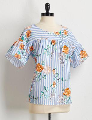 tropical floral stripe top