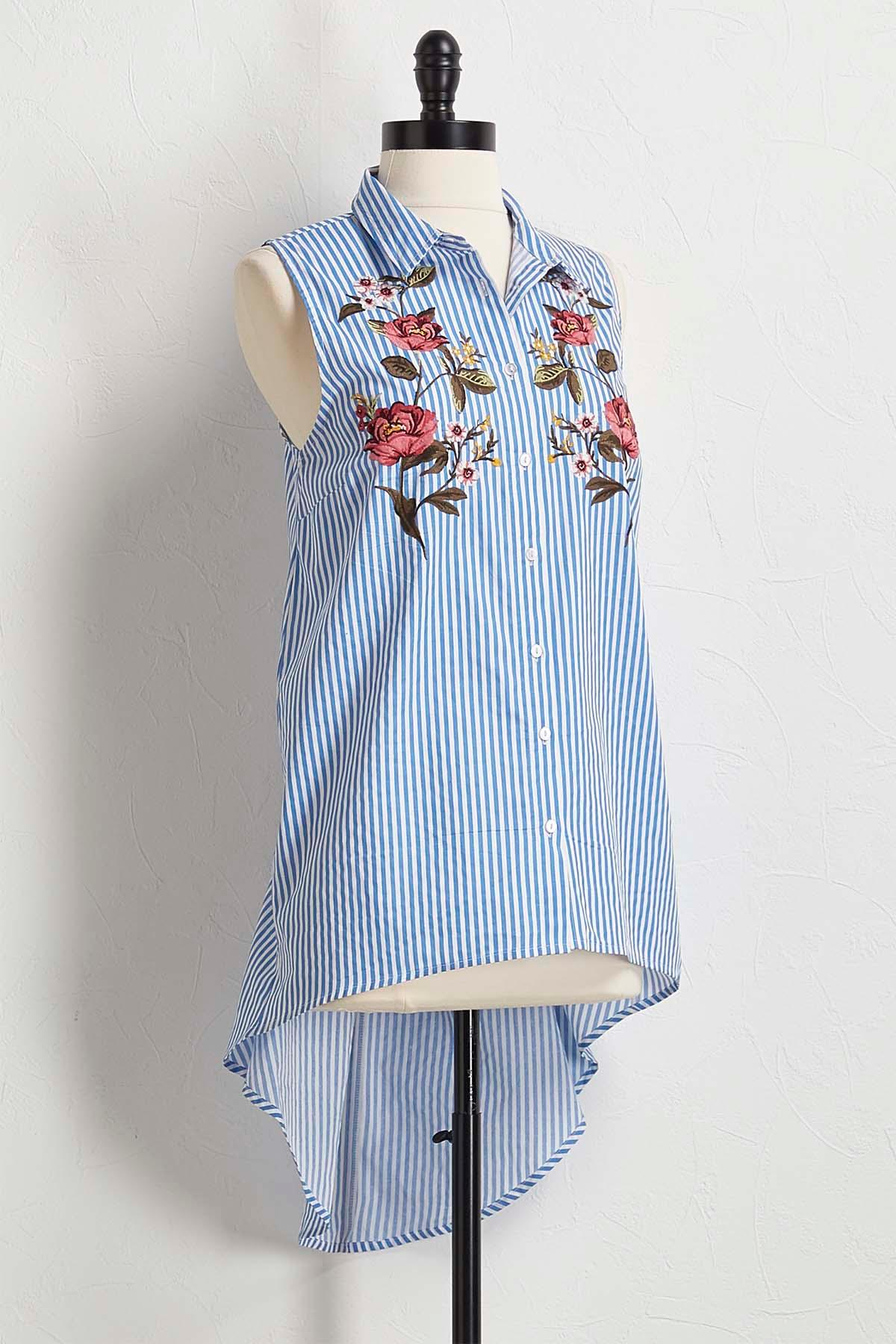 Stripe Embroidered High- Low Tunic