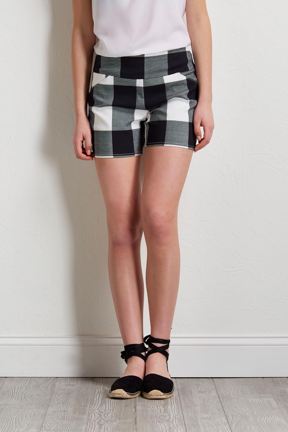 Black And White Checkered Shorts