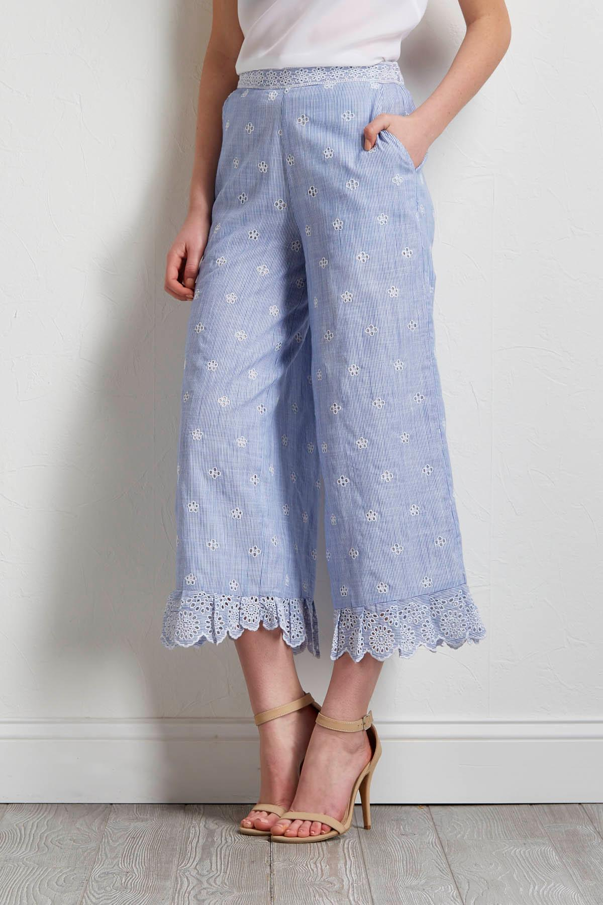 Stripe Eyelet Wide Leg Pants