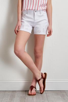 embroidered eyelet denim shorts