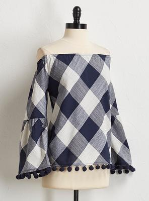 gingham bell sleeve top