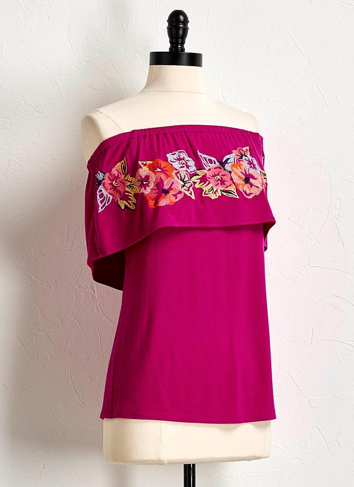 Floral Embroidered Off The Shoulder Top