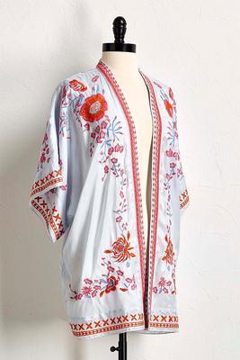 floral embroidered kimono