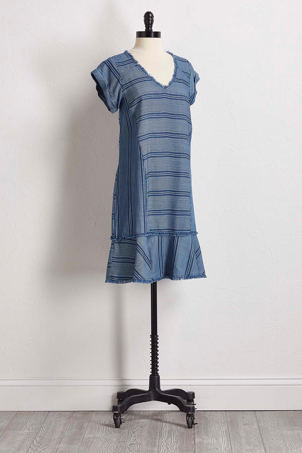 Striped Chambray Shift Dress