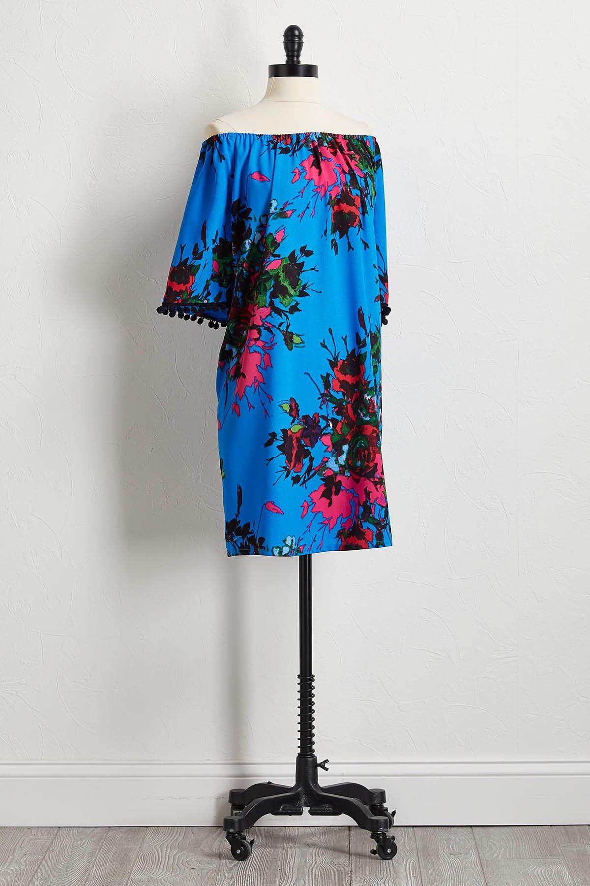 Pom- Pom Off The Shoulder Shift Dress
