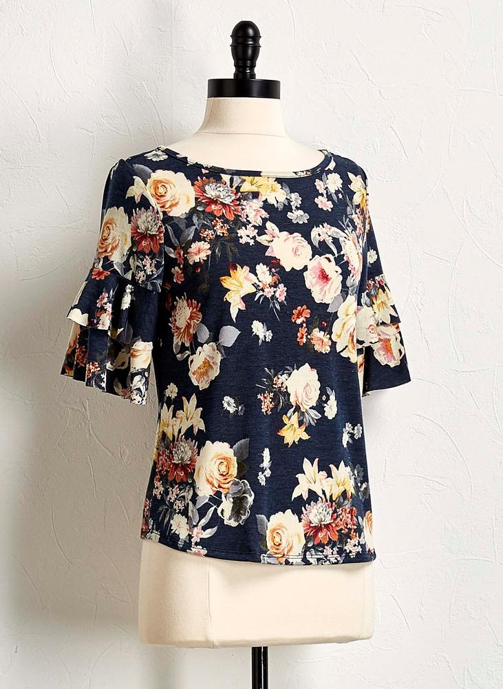 Floral Tiered Hacci Top