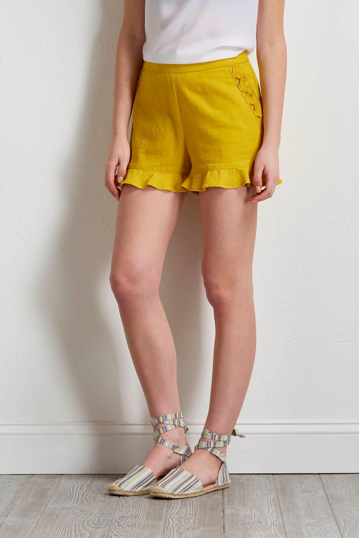 Ruffled Linen Shorts