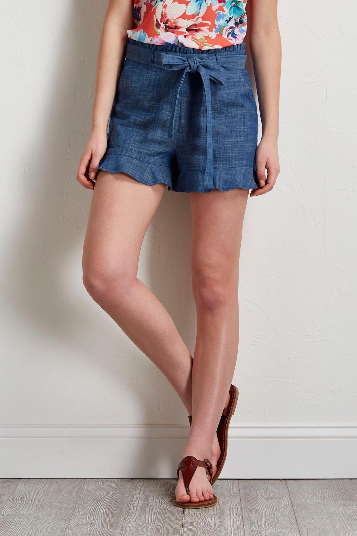 Ruffled Blue Linen Shorts