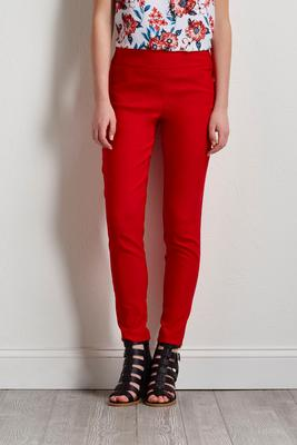 red pull-on ankle pants