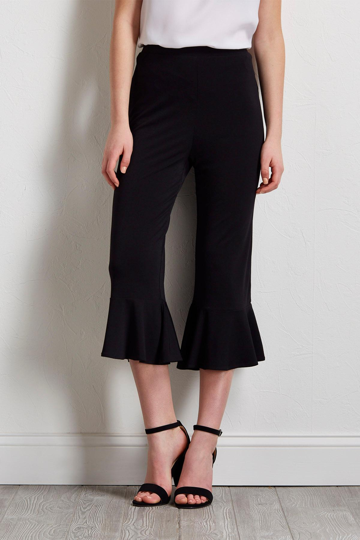 Cropped Pull- On Ruffled Pants
