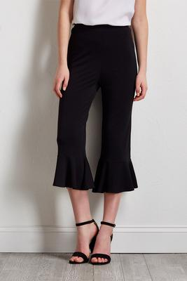 cropped pull-on ruffled pants
