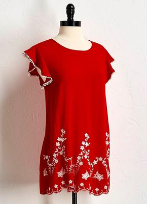 embroidered flutter sleeve tunic