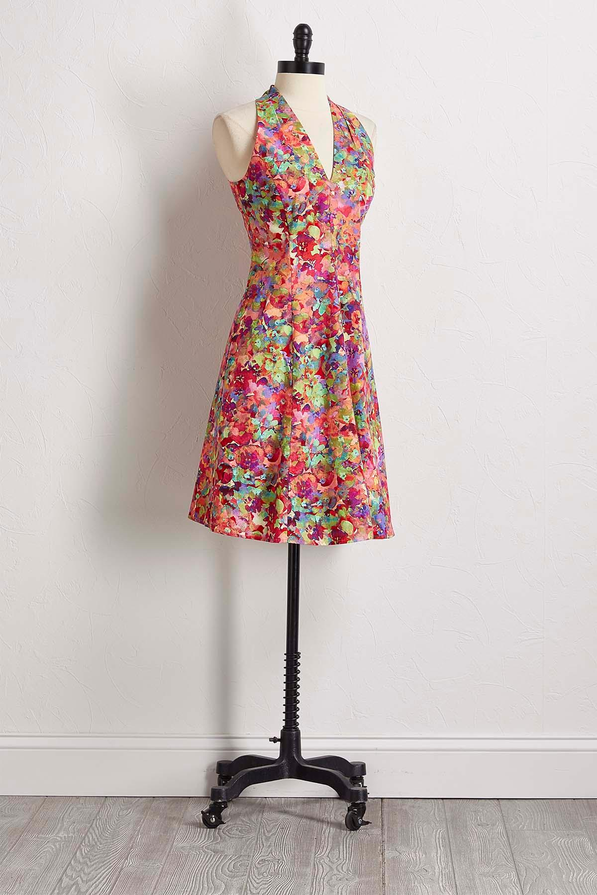 Watercolor Floral Fit And Flare Dress