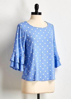 polka dot ruffle sleeve top