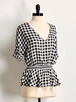 gingham smocked waist top