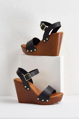 strappy wood wedges
