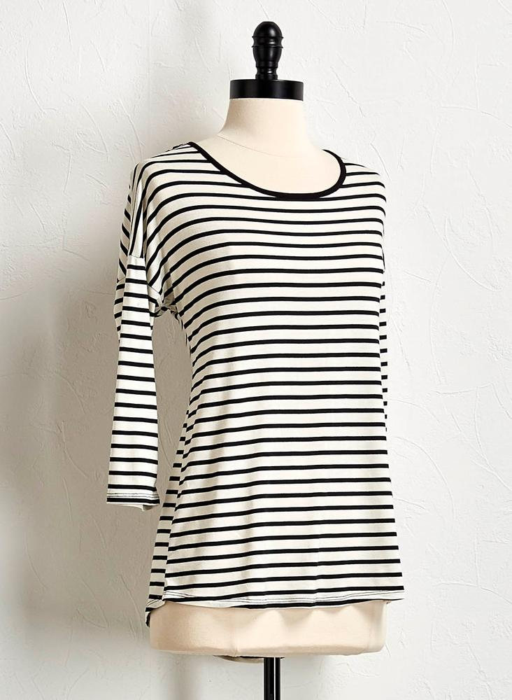 Striped Lattice Back Top