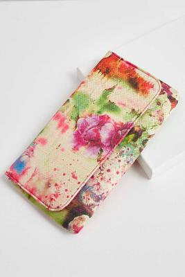 watercolor floral clutch