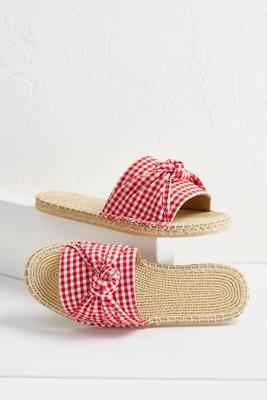 gingham canvas slides
