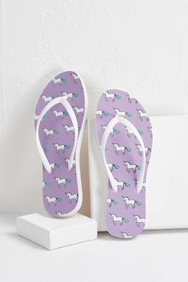 lavender unicorn flip-flops