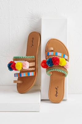 pom pom embellished sandals s