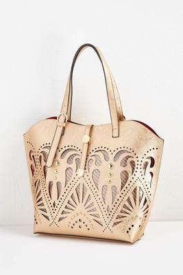cutout bag in bag tote s