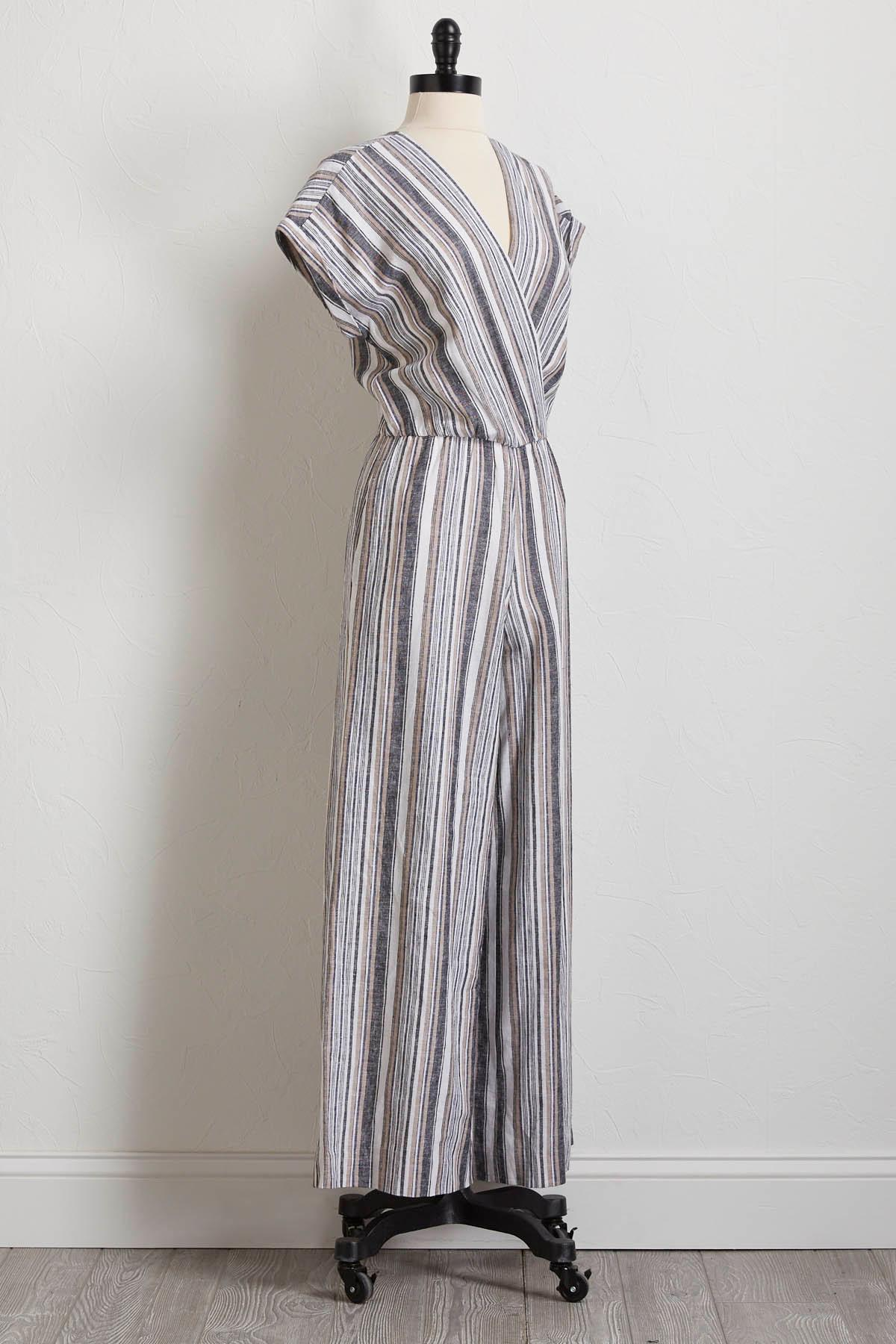 Neutral Striped Linen Jumpsuit