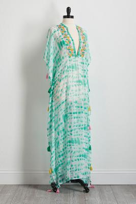 embroidered tie-dye kaftan