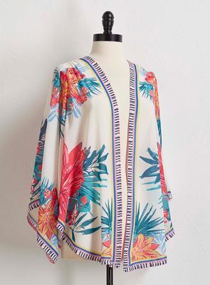 tropical border print kimono